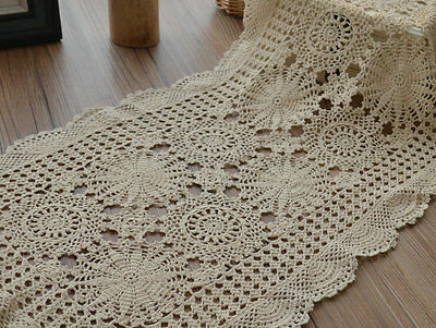 Vintage Hand Crochet Lace Table Runner Ecru Cotton Snowflake Oblong
