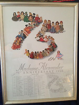 "Madame Alexander RARE COLLECTOR 75th Anniversary Signed Print Framed 20"" X 25"""