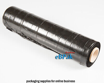 2x 500mm x 450m Meter Black Hand Stretch Film for Pallet & Carton Shrink Wrap