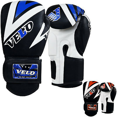 VELO Boxing Gloves Leather Gel Fight Punch Bag Muay thai MMA Kickboxing Pads B5W
