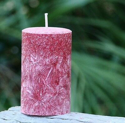 40 hour BLACK CHERRY & VANILLA Triple Scented NATURAL Pillar Candle ALL COLOURS