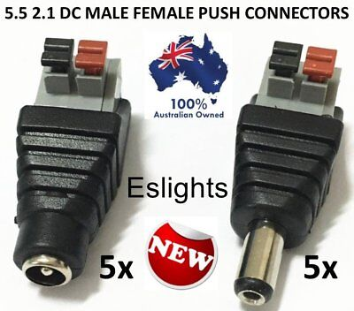 Female 2.1x5.5mm DC Power Plug Jack Adapter Connector for CCTV/_H4 10X 12V Male