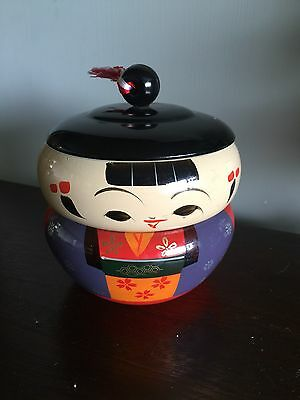 *3pc Japanese Lucite/laquer KOKESHI DOLL Staking Box HAND PAINTED figurine