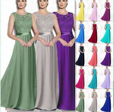 Formal Lace Evening Bridesmaid Dress Long Chiffon Wedding Ball Party Prom Gowns