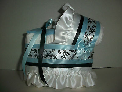 Little Prince Blue Floral Swirl Boy Diaper Bassinet Baby Shower Table Decoration