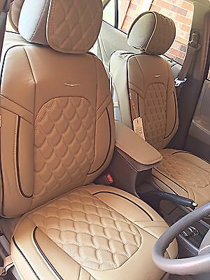Luxury Universal Full Set leather Front Rear Car Seat  Cover Cream 15pcs