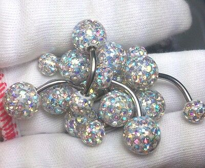 Ferido Belly Button ring Crystal AB color 9mm and 6mm Epoxy Coated 10pcs/1set