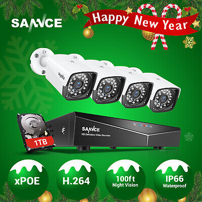 SANNCE 4CH 2MP PoE Security IP Camera System 1080P NVR Outdoor Network Metal 1TB