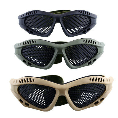 Tactical Outdoor Protective Safety Goggles With Metal Mesh Sport Airsoft