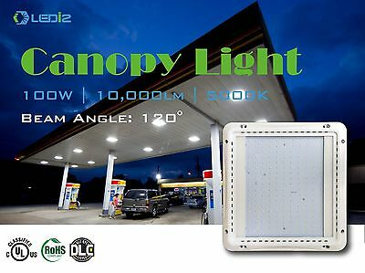 LED Gas Station Canopy Light 100 Watt 5000K Daylight White 10000 Lumens, LEDi2