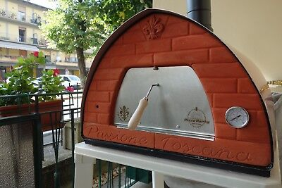 Wood fired pizza oven + door with glass: the original Pizza Party 70x70 Bronze