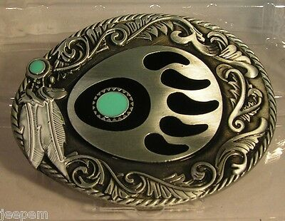 Native American Indian Bear Paw Hunting Symbol + feathers Buckle fix to own belt