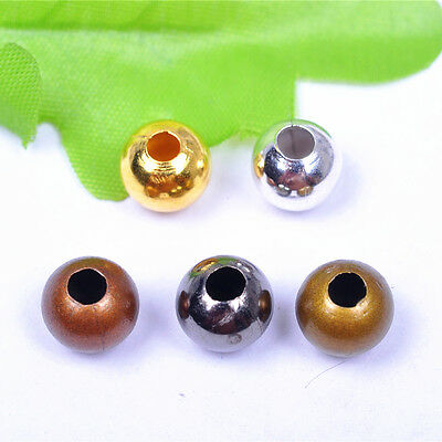 Round Beads Charms Metal Plated Silver Gold DIY Jewelry Making ALL SIZE Color