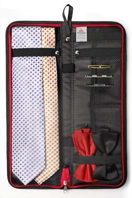 """Travel Essentials Travel Tie Case, Black (18"""" X 6"""") with Cuff Link and Tie Clips"""