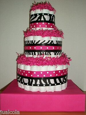 Zebra Print Hot Pink Dots Big Diaper Cake Girl Baby Shower Centerpiece