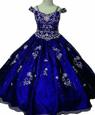Blue Girl Dress Princess Kids Pageant Party Dance Wedding Birthday Gown 2 -12