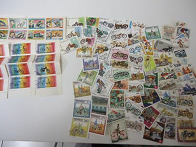Stamps 100 Bikes & Motorcicle  F2   From World Wide  Good Quality All Different