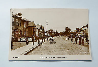 Wonderful Early Real Photo Postcard Bletchley Road Bletchley Children in Street