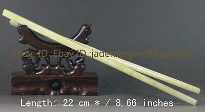 100% / natural color jade a pair of Chinese chopsticks 22 cm * / 8.66 inches
