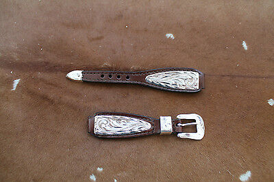 Western Cowboy Womens Leather Watch Band Silver Belted Rodeo Dress Casual Buckle