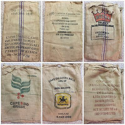 6 XL Burlap Coffee Bags for Decor, Crafts, Wreaths, Gardening and More / C6
