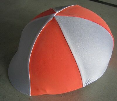 Horse Helmet Cover ALL AUSTRALIAN MADE White & Orange Any size you need