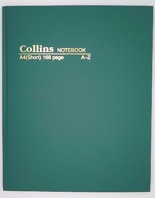 A4 Short Green Casebound A-Z Notebook Feint 168P Collins #5804*