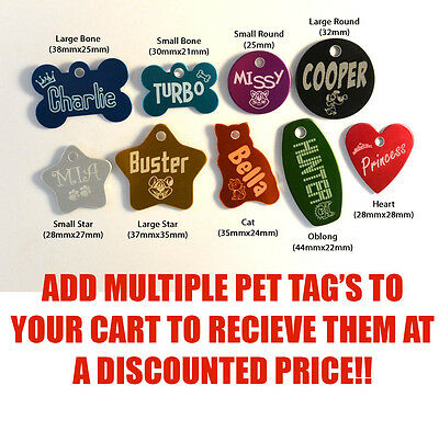 Designer Personalised Pet collar ID Tag Dog Cat Both sides Permanently Engraved