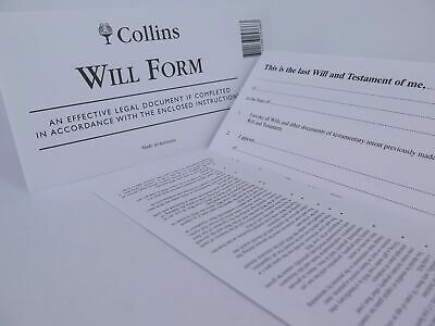Collins Australian DIY Will Kit Form / Envelope / Instructions 25766*