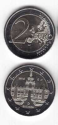 Germany –  New Issue 2 Euro Unc Coin 2016 Year Sachsen Different Mint Mark