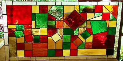 Leadlight 'PIXEL' Contempory Modern Stained Glass Window red autumn tones CUBISM