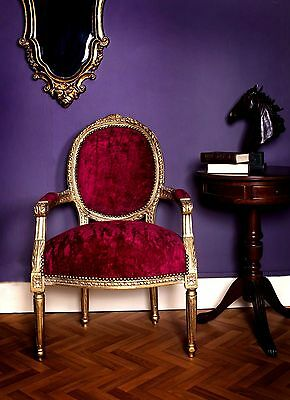 French Louis Armchair Gold Red Shabby Chic Bedroom Hallway Wooden Frame Chair