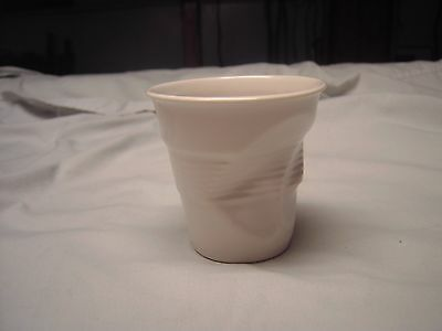 French Revol White Porcelain Ceramic Crushed Crumpled 10 oz Cup