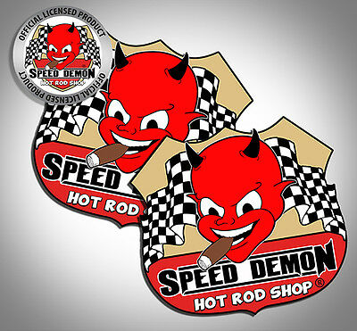 """Speed Demon Hot Rod Shop Vintage Style Cute Devil Route 66 3"""" decals 2 stickers"""