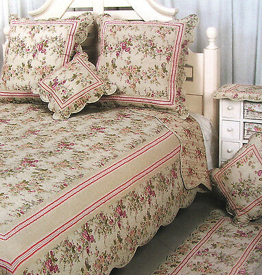 ❤ Superbe Couvre Lit Patchwork + 1 Taie Boutis Shabby Chic Coton 180X240Cm