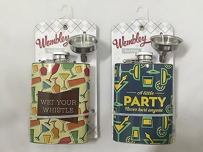 Wembley 'Wet Your Whistle' 4 oz. Flask with Funnel - NEW
