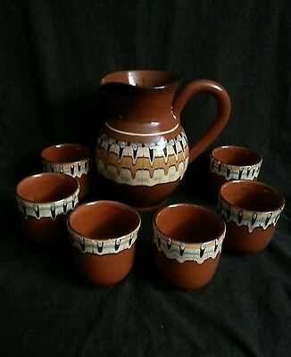 Vintage clay pottery hand made milk glazed pitcher w. 6 matching cups