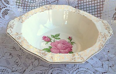 Alfred Meakin Gold Chintz Pink Rose Serving Bowl  (593)