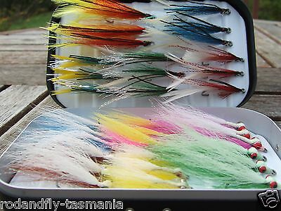 33 Clouser & Deceiver flies in a Plastic Fly Box