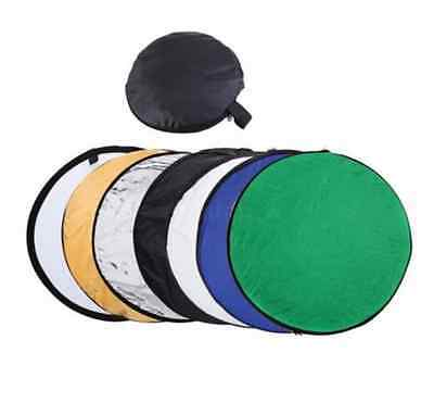 """110cm 43"""" 7 in 1 Photography Studio Disc Collapsible Photo Light Reflector  New"""