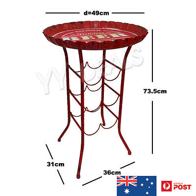 Metal Beer Cap Wine Rack Table - Rustic Red 8 Bottles Bar Party Garden Patio New