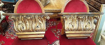 PAIR GOLD Wall Sconce Brackets Acanthus Leaves W'24'' H15'' D7'' 12 lbs each