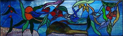 FAIRY WRENS, BANKSIA & GUM BLOSSOM Leadlight Stained Glass Window CUSTOM BUILT