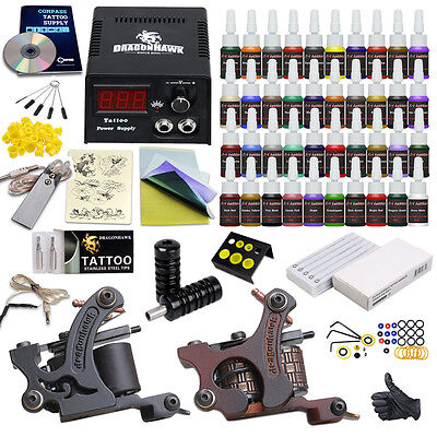 Complete Tattoo Kit Set 20 color Inks Power Supply 2 TOP Machine Guns HW-9DD-13