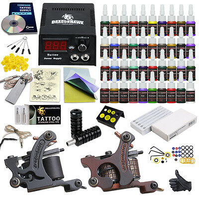 Complete Tattoo Kit Set 40 color Inks Power Supply 2 TOP Machine Guns HW-9DD-13