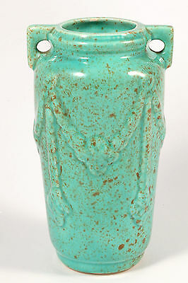 Vintage European? Art Deco Pottery Green Double Handled Vase Swags Marked 3529