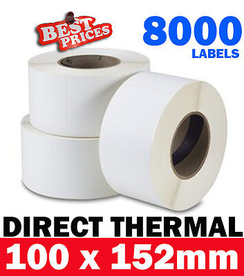 8000x Industrial Direct Thermal Shipping Label 100X150mm 76mm Core Zebra Printer