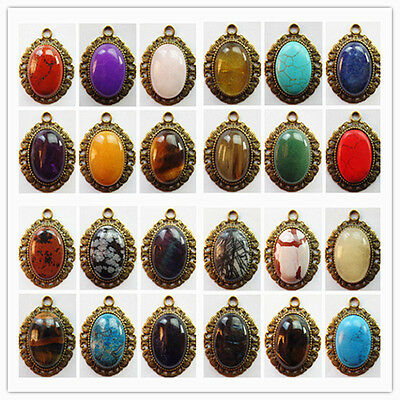 Wholesale Bronze Inlay Mixed Gemstone Pendant Bead GL077