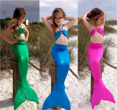 Kids Girls Gilding Mermaid Tail Costume Swimwear Bikini Swimsuit Outfit 3pcs Set