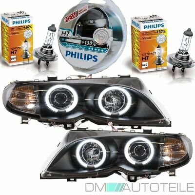 2x BMW E46 Facelift CCFL Angel Eyes Scheinwerfer Schwarz 01-05+PHILIPS XENON